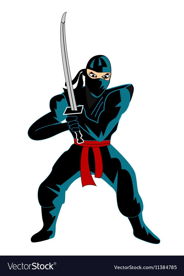 Ninja over white background vector image