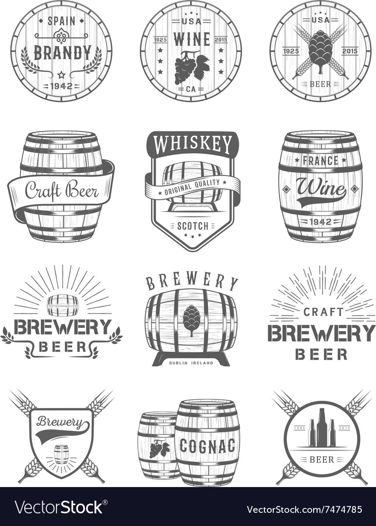 Set of Cask Alcohol Emblems vector image