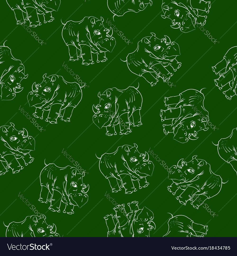 White rhino seamless pattern vector image