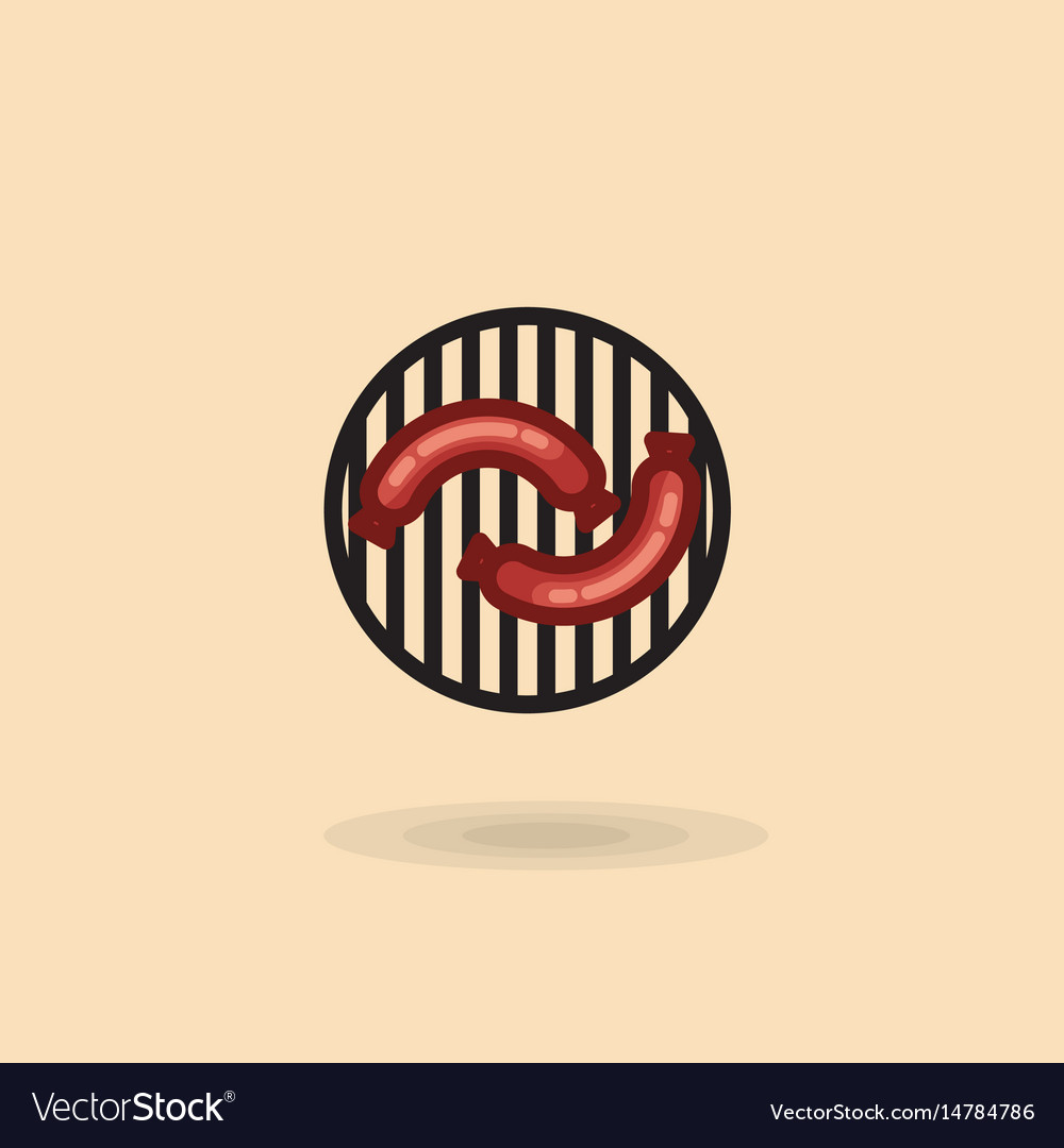 Sausages on a barbecue grill isolated icon vector image