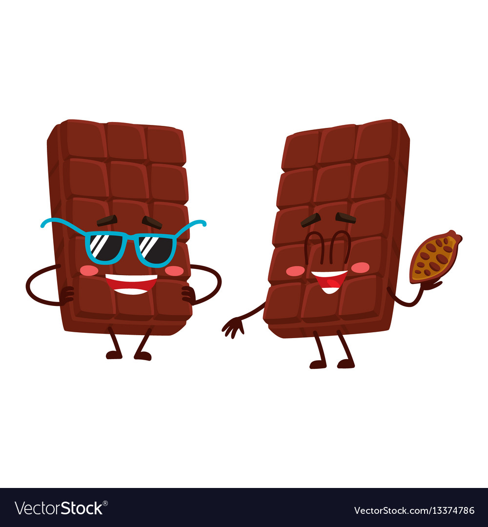 Two chocolate bar characters in sunglasses and vector image