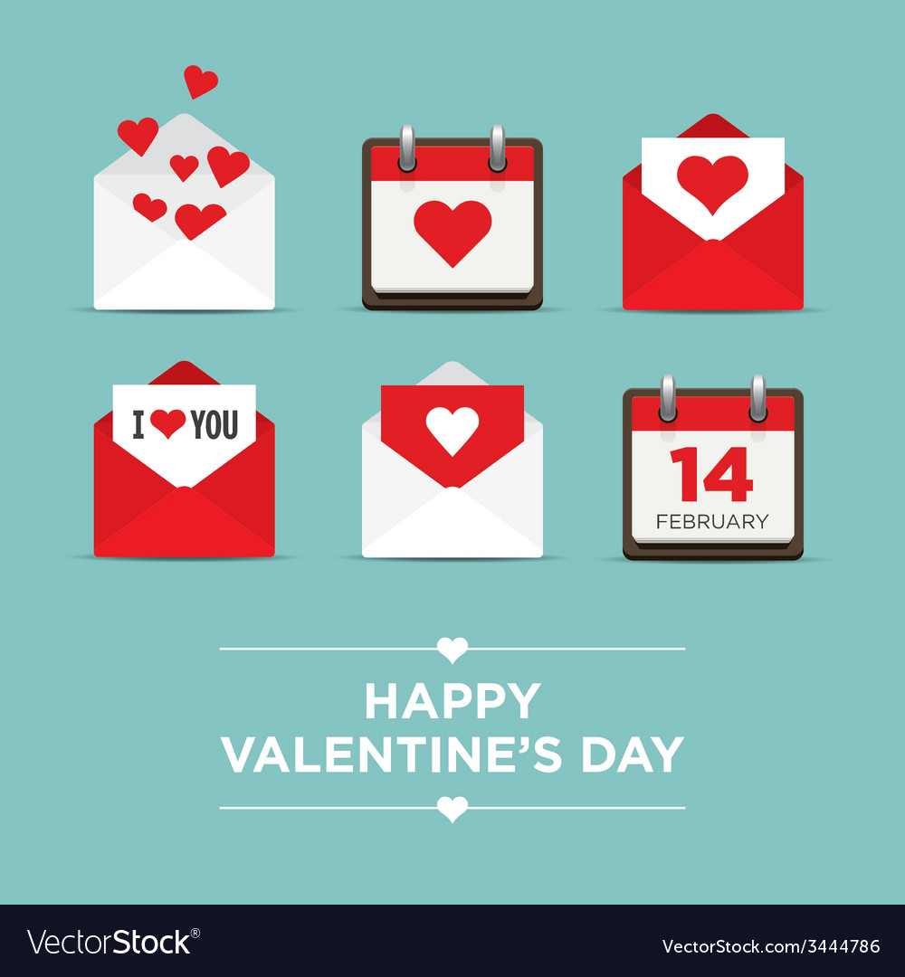 Valentines day set icons vector image