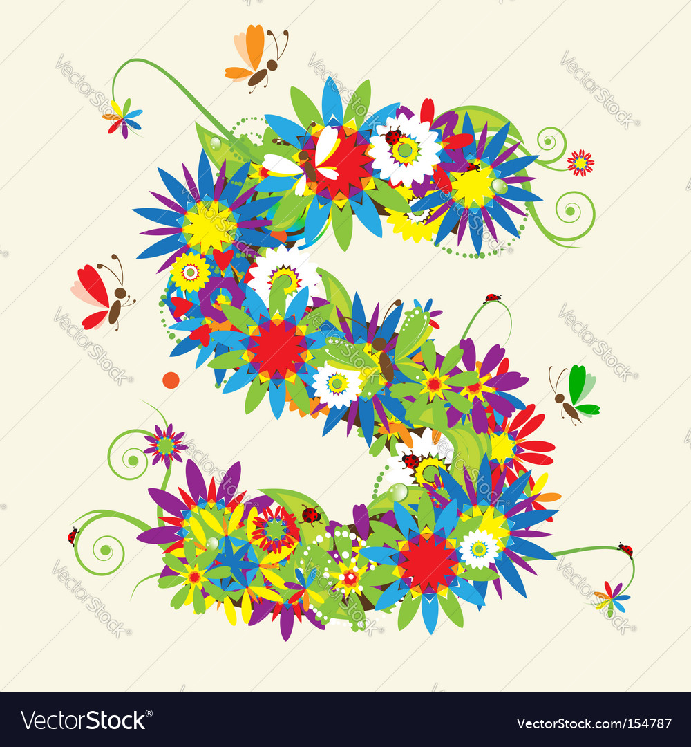 Green floral design vector graphic free vector graphics all free - Letter S Floral Design Vector Image
