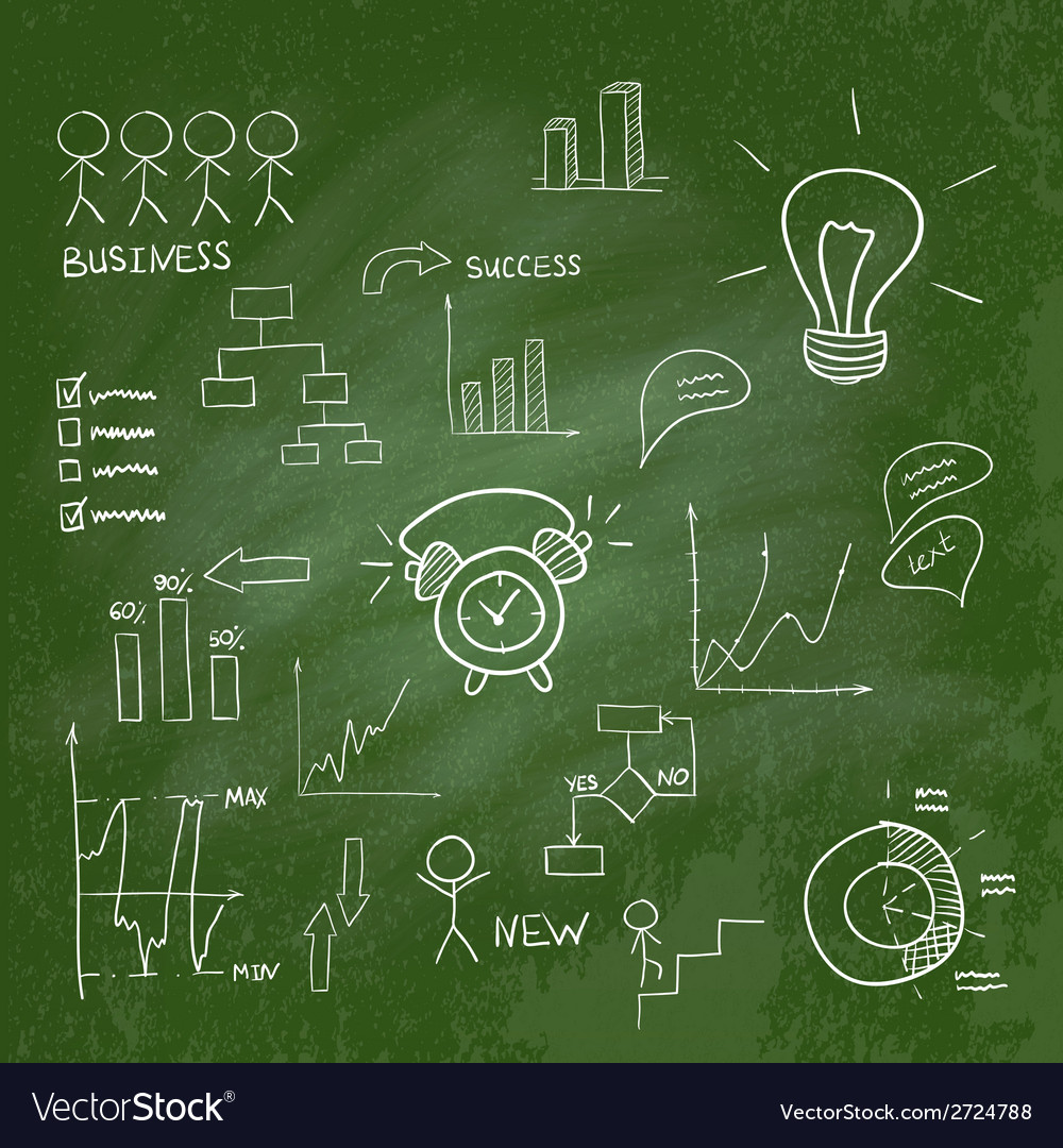 Business doodles infographic vector image