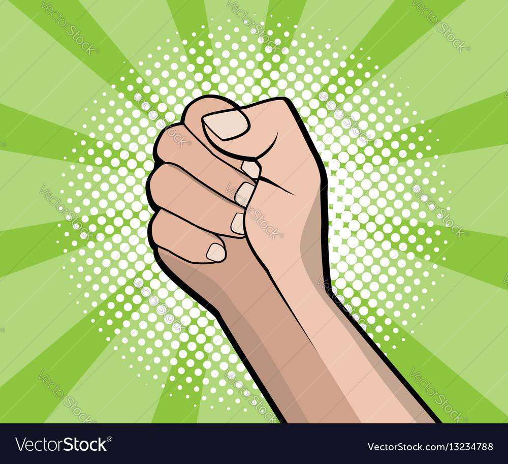 Hand fist revolution pop art comic book background vector image