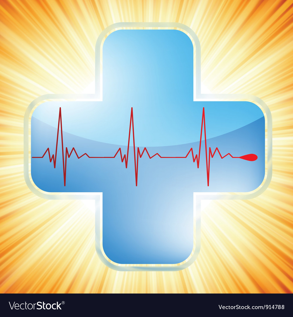 Heart medical cross vector image