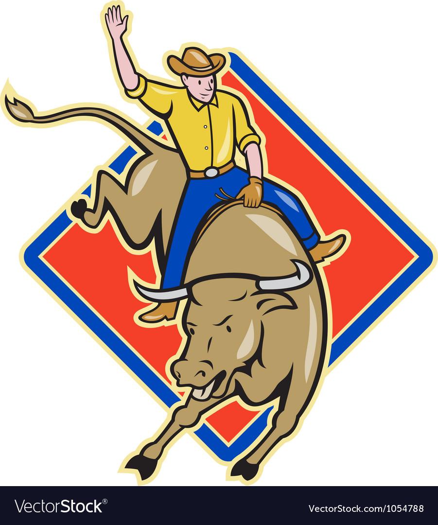 rodeo cowboy bull riding cartoon royalty free vector image