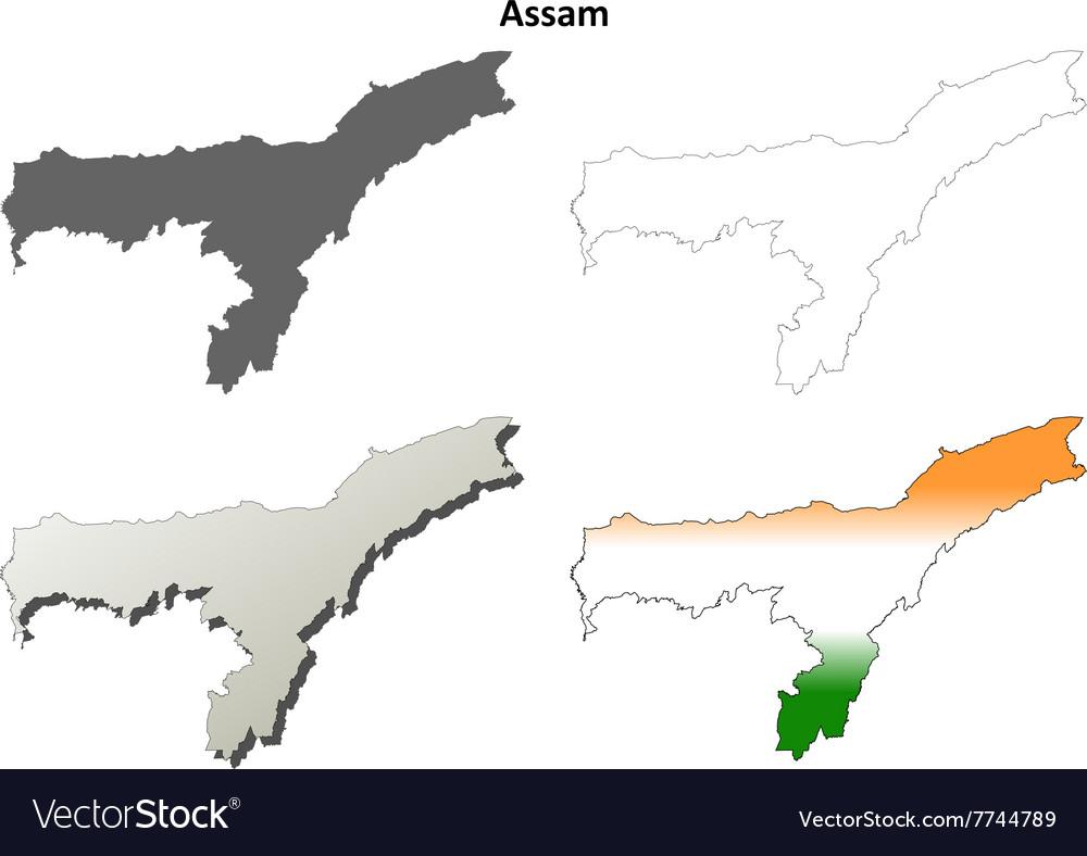 Assam blank detailed outline map set vector image