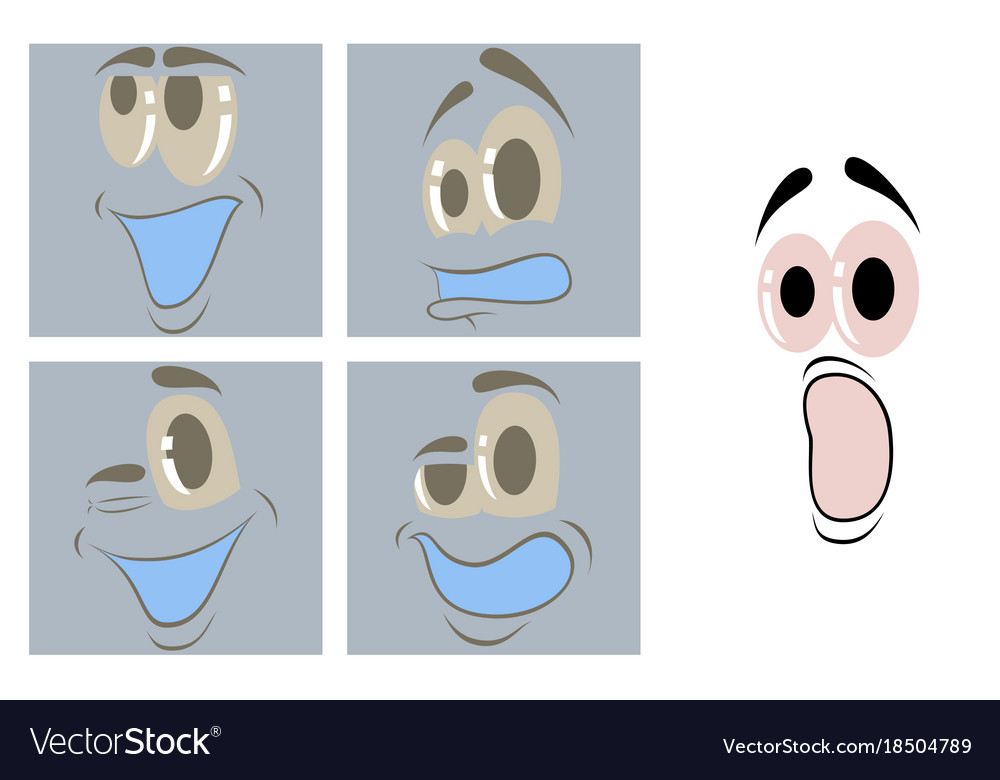 Assembly of flat icons on theme cartoon face