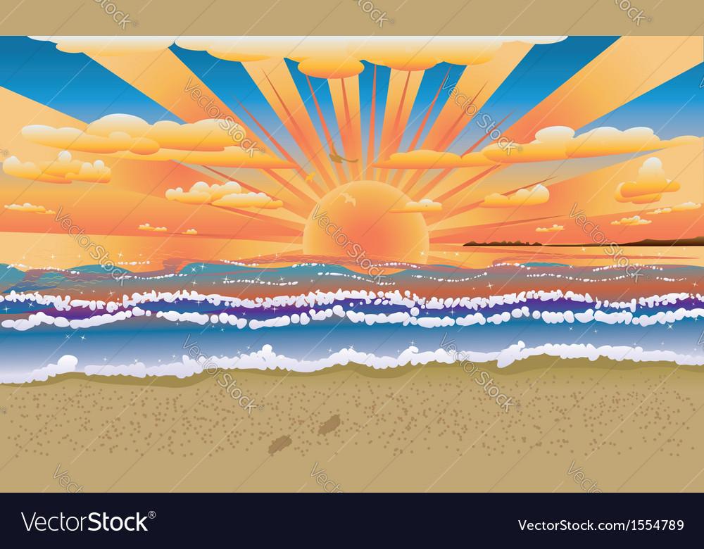 Sunset on tropical beach vector image