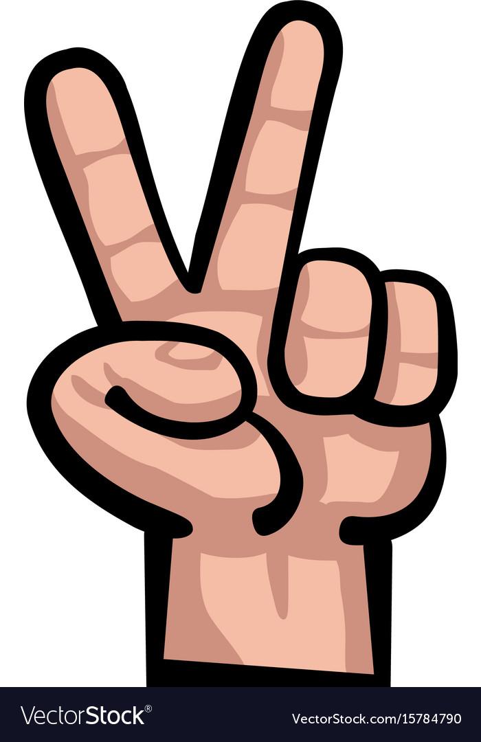 Hand peace sign cartoon vector image