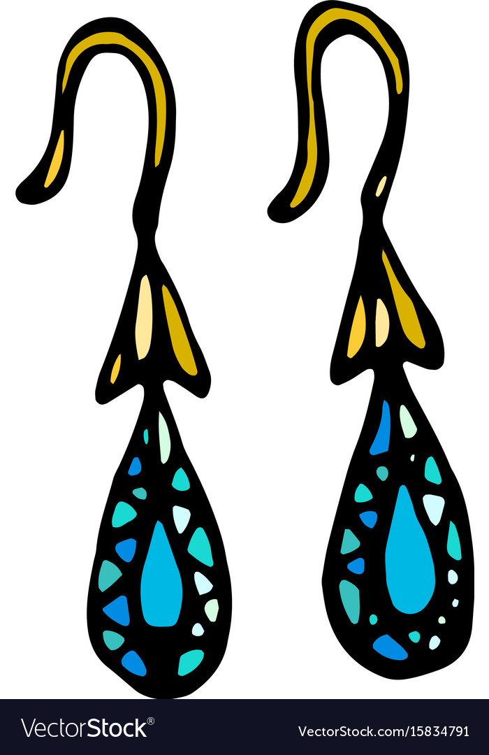 Gold jewellery earrings with blue or turquoise vector image