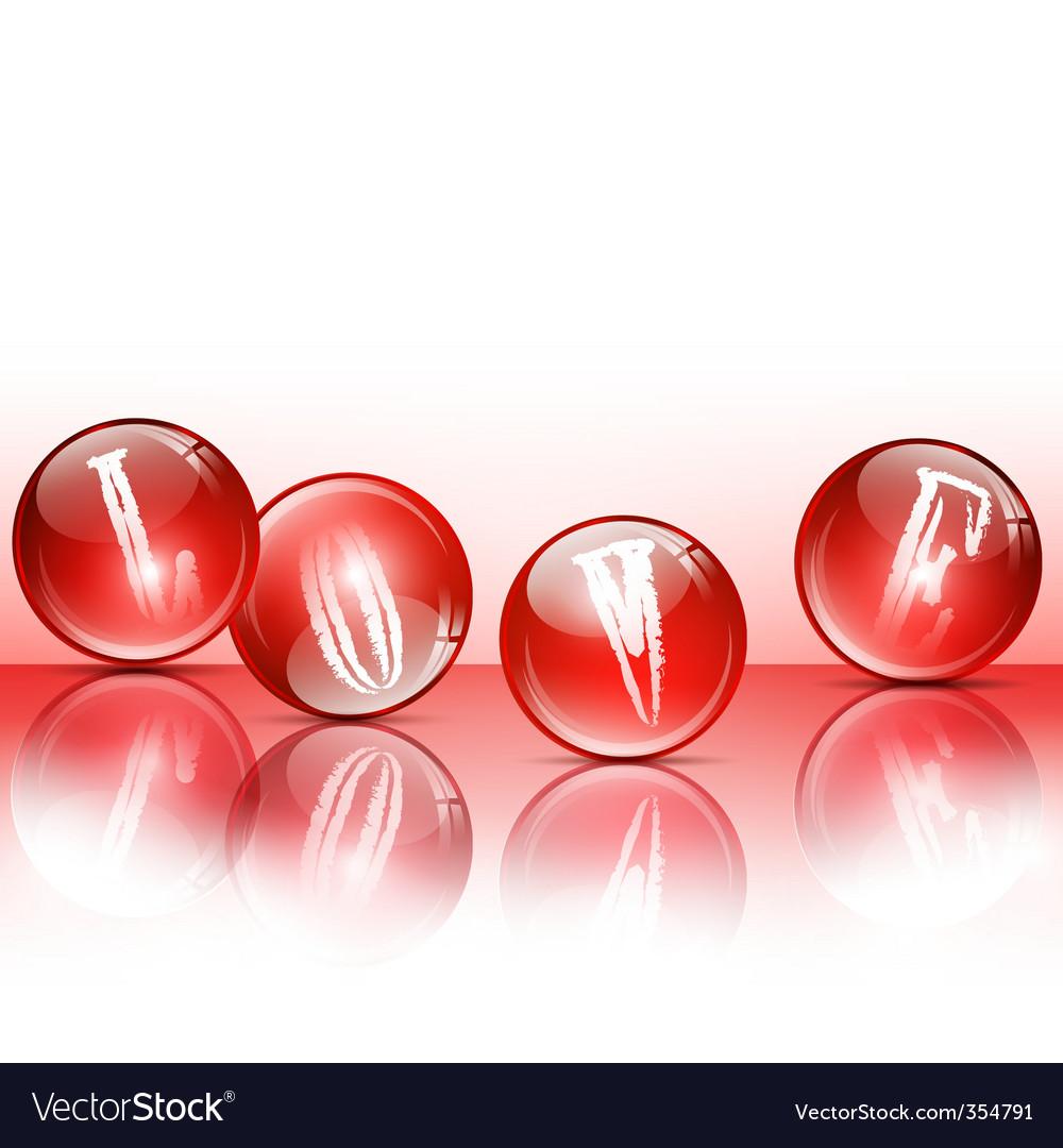 Love glossy balls vector image