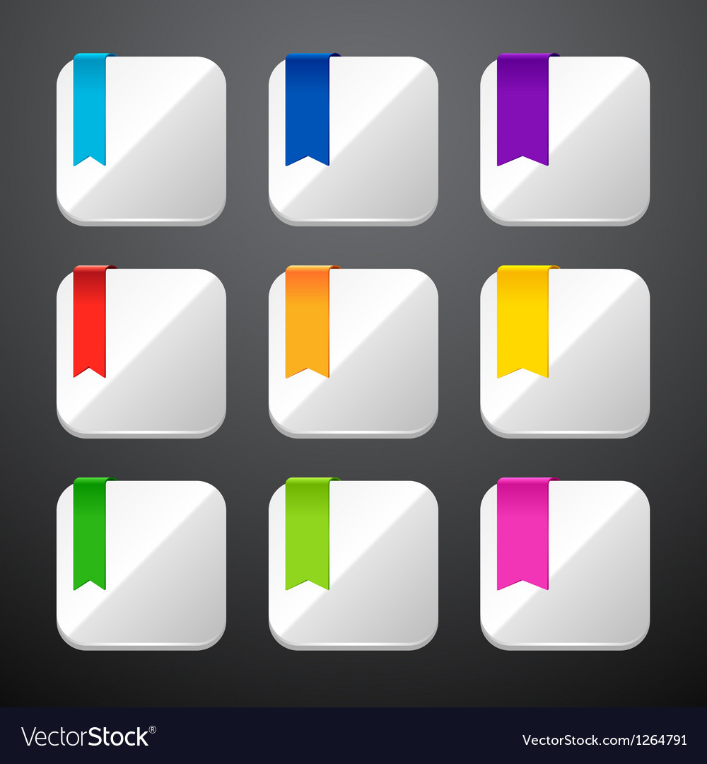 Set of the app icons with ribbons vector image