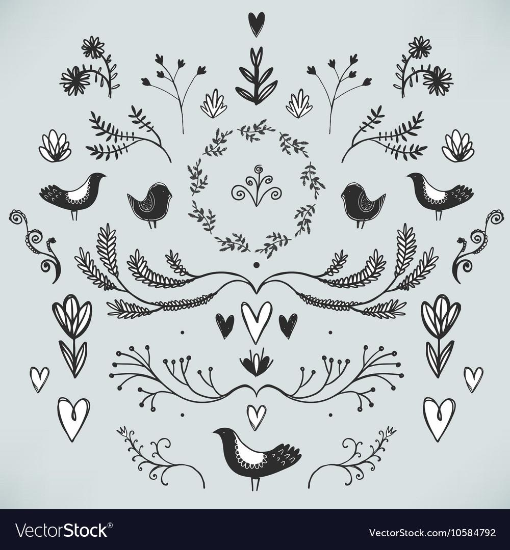 Floral decor set of hand drawn doodle vector image