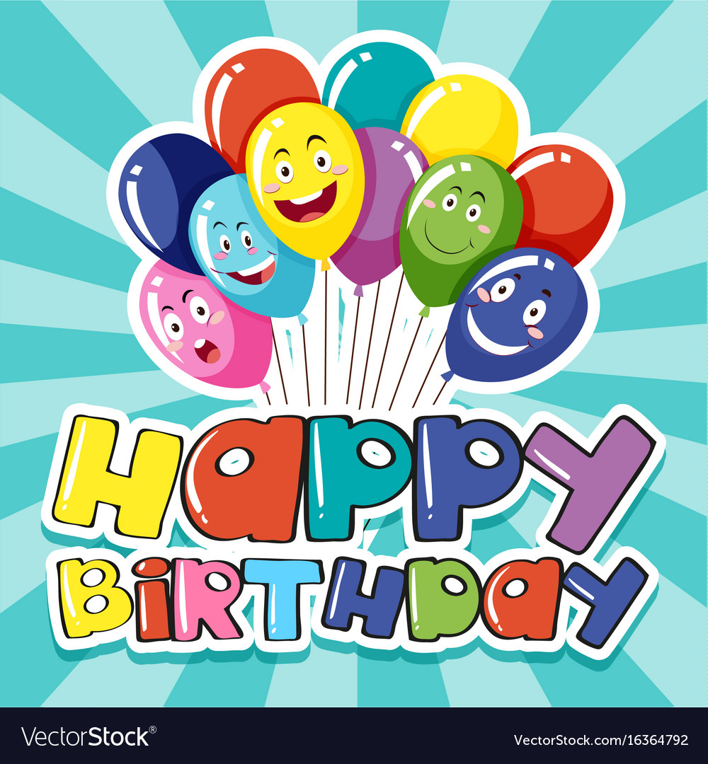 Happy birthday card template with colorful Vector Image – Happy Birthday Cards Templates
