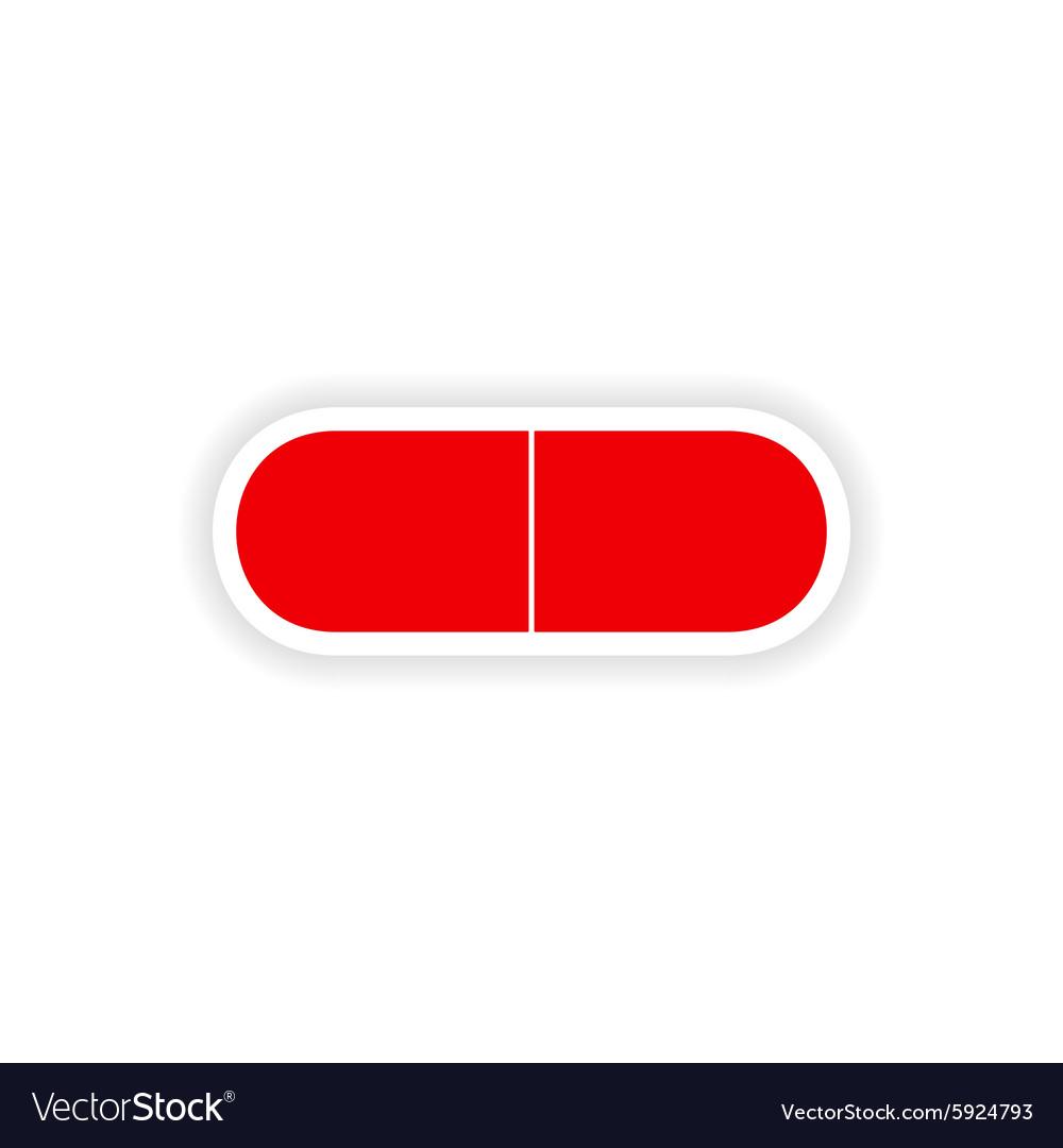 Icon sticker realistic design on paper pill