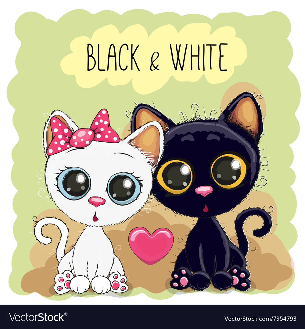 Two Cute Cats vector image