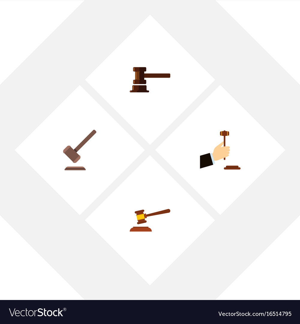 Flat icon hammer set of tribunal hammer law and vector image