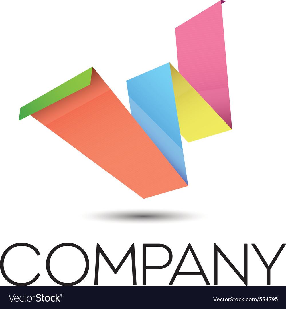 W origami logo vector image