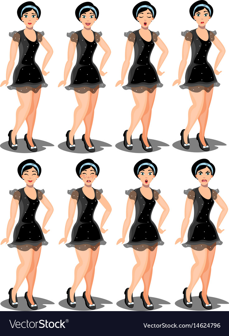 Set girl dressed in a dress with a variety of vector image