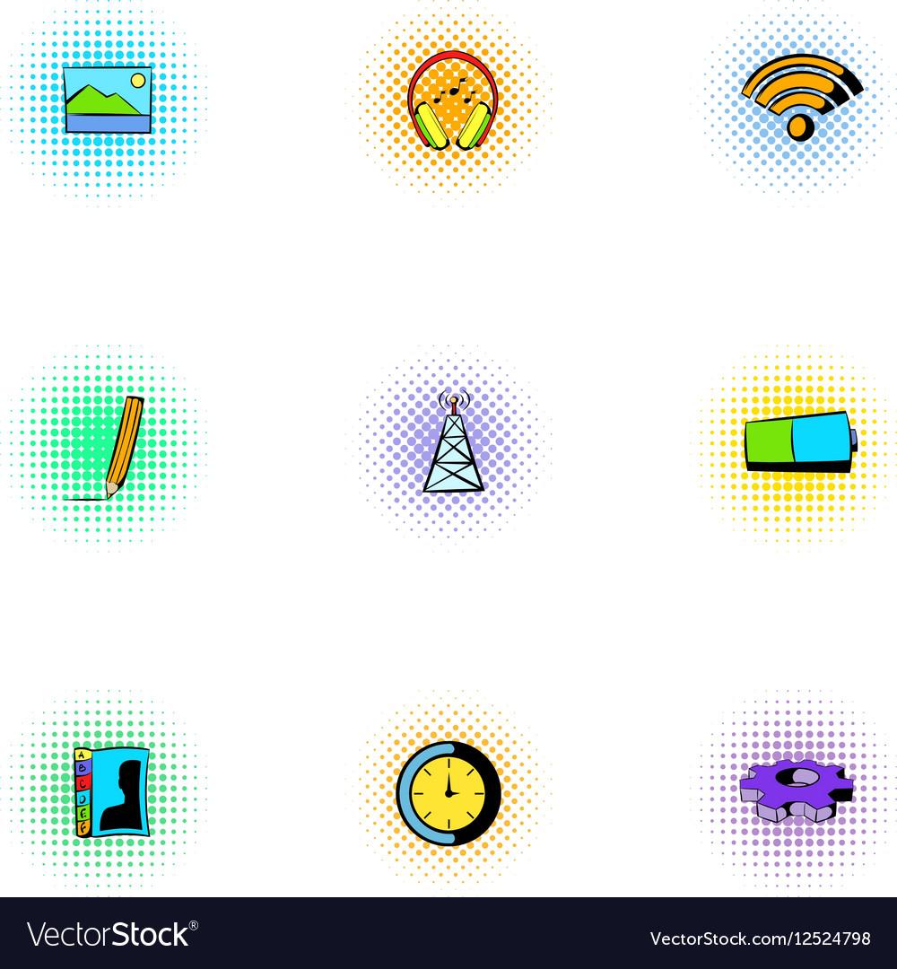 Internet icons set pop-art style vector image