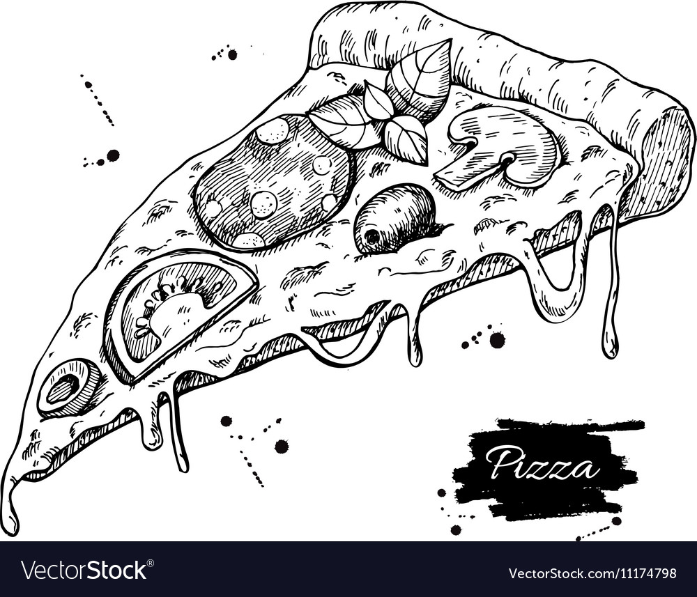 Uncategorized Drawing Pizza pizza slice drawing hand drawn royalty free vector image