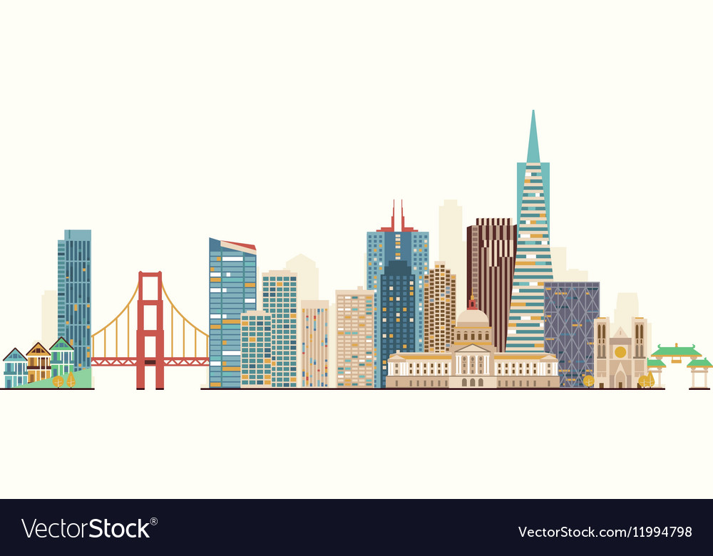 San francisco skyline royalty free vector image for Design agency san francisco