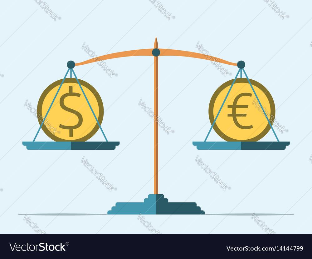 Balance dollar and euro vector image