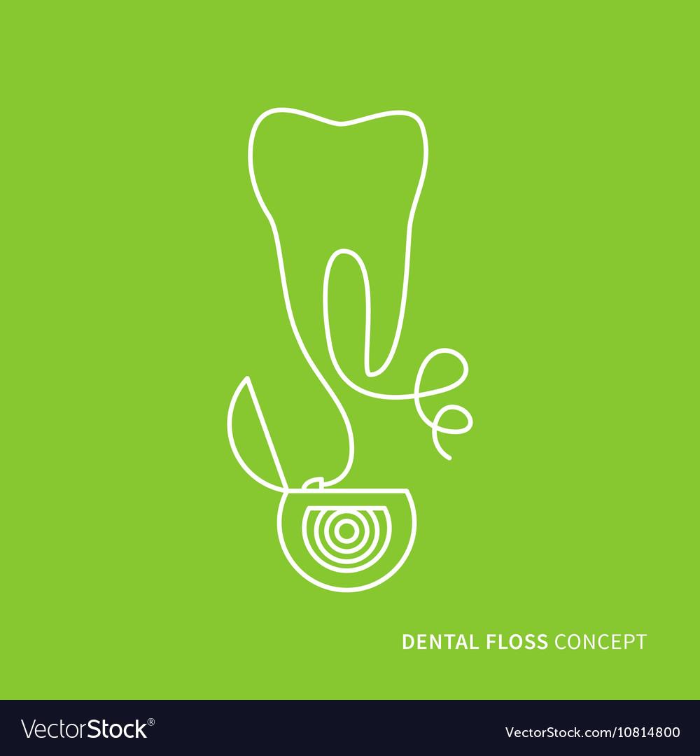 Dental floss linear vector image