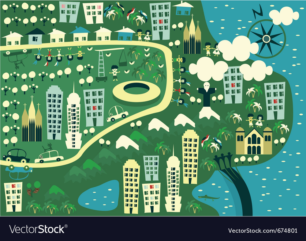City birdseye vector image