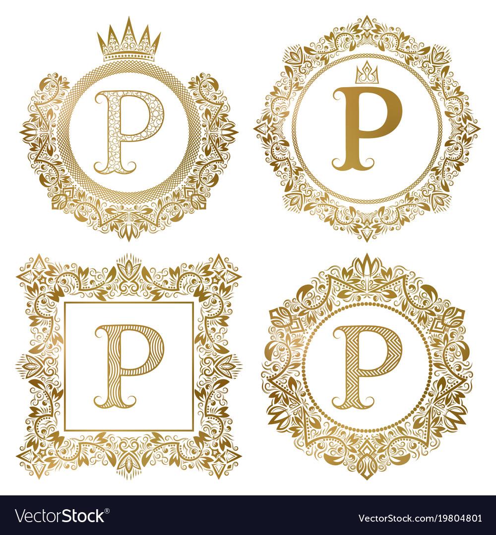 Golden letter p vintage monograms set heraldic vector image