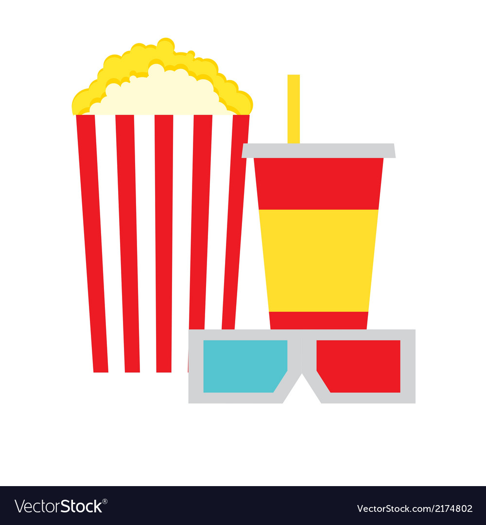Popcorn Box Cola and 3D Glasses vector image