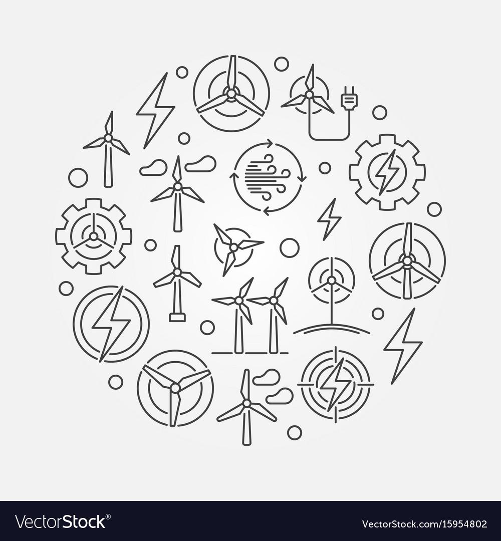Wind energy circular vector image