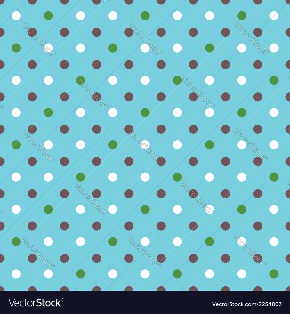 Blue background fabric with white green brown dots vector image