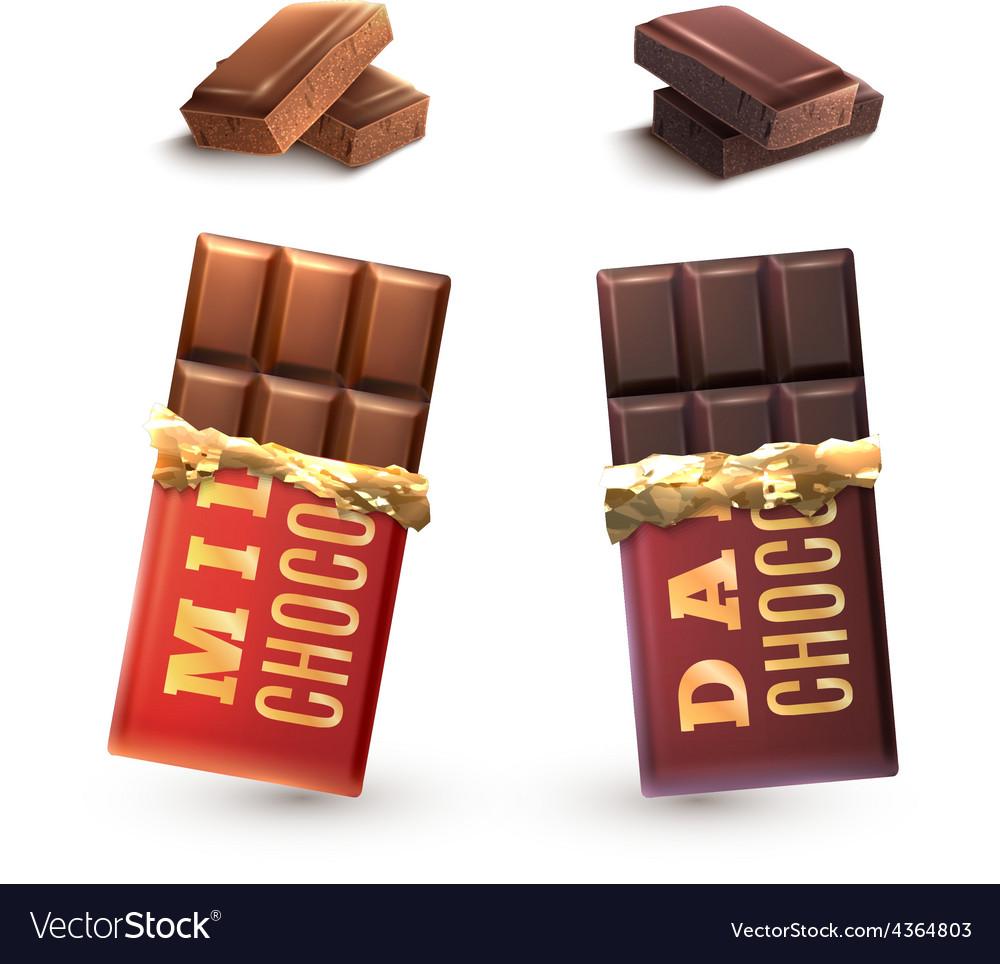 Chocolate Bars Set vector image