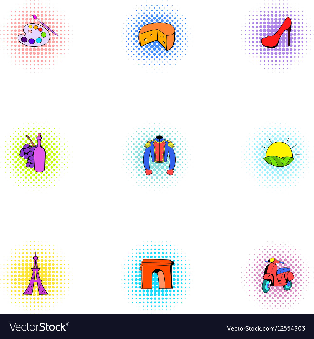 Country of France icons set pop-art style vector image