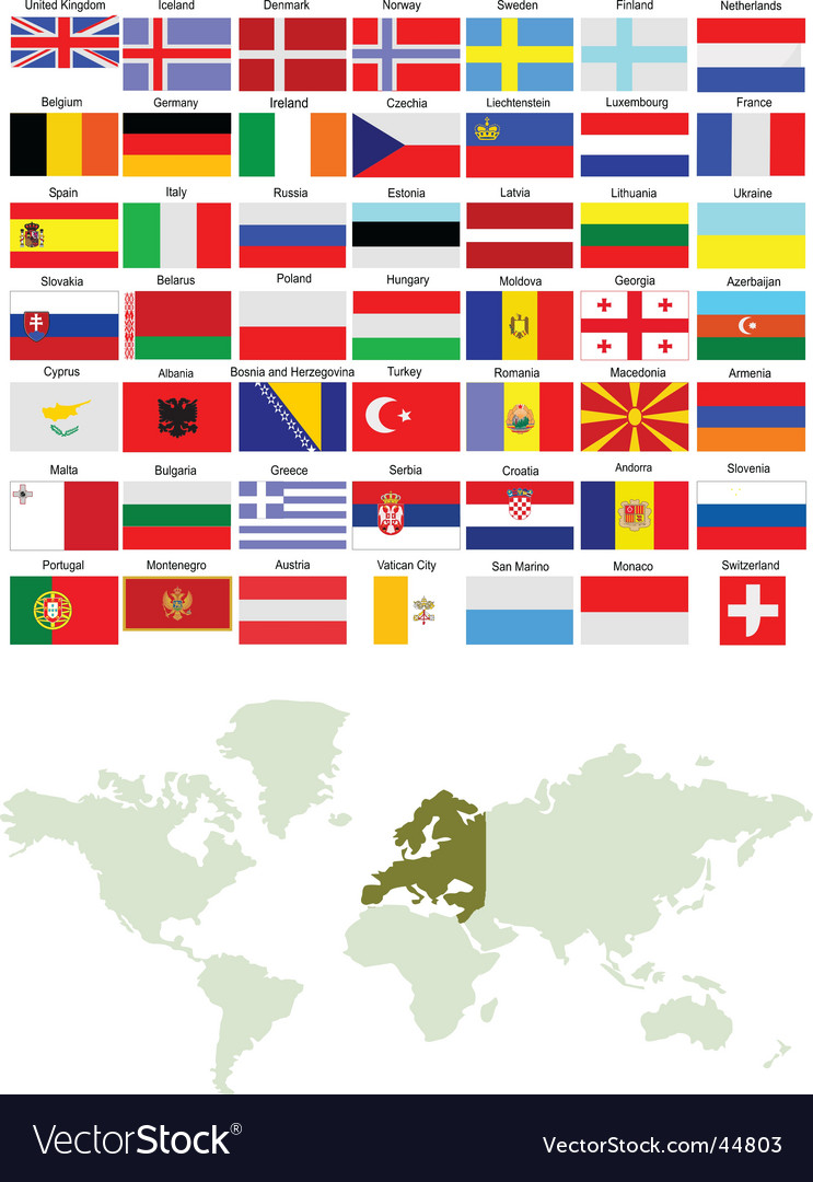 European flags and world map royalty free vector image european flags and world map vector image gumiabroncs Gallery