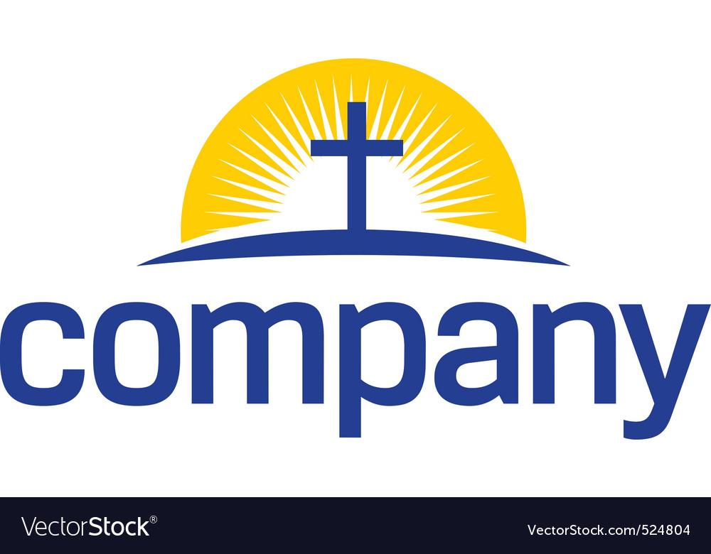 Cross with sun logo vector image