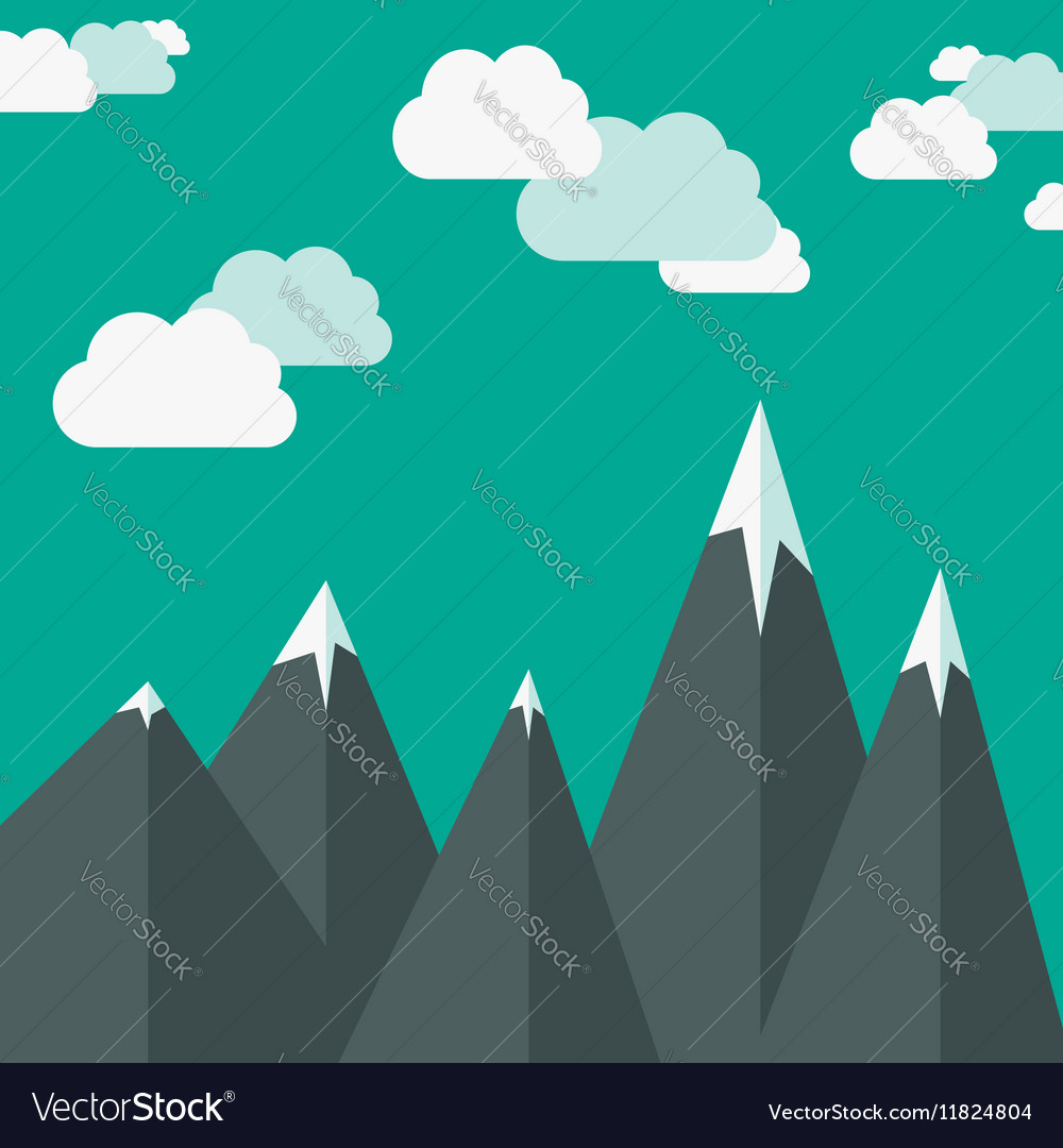 Mountains and clouds vector image