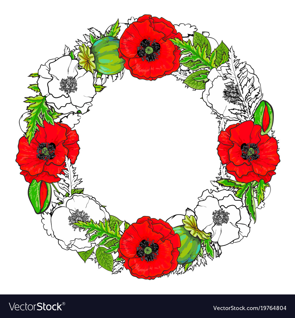 Round frame of poppy flowers buds and leaves vector image mightylinksfo Choice Image