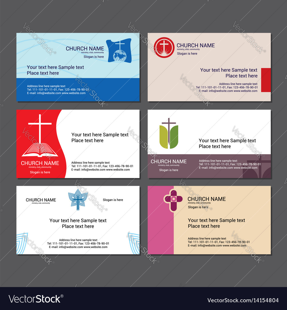 Set christian business cards for the church Vector Image
