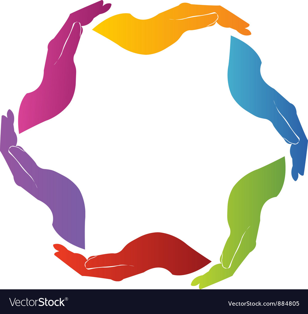 Hands unity teamwork vector image
