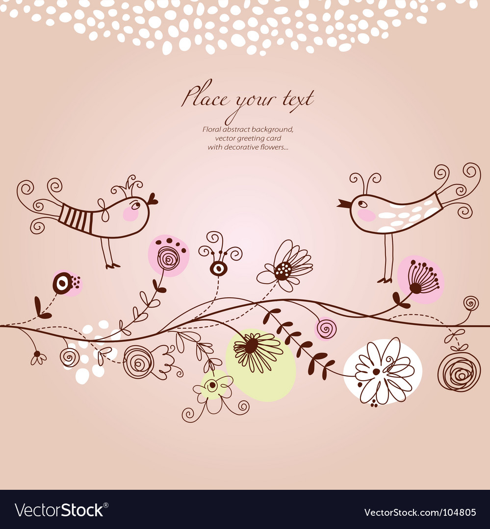 Floral background greeting card vector image