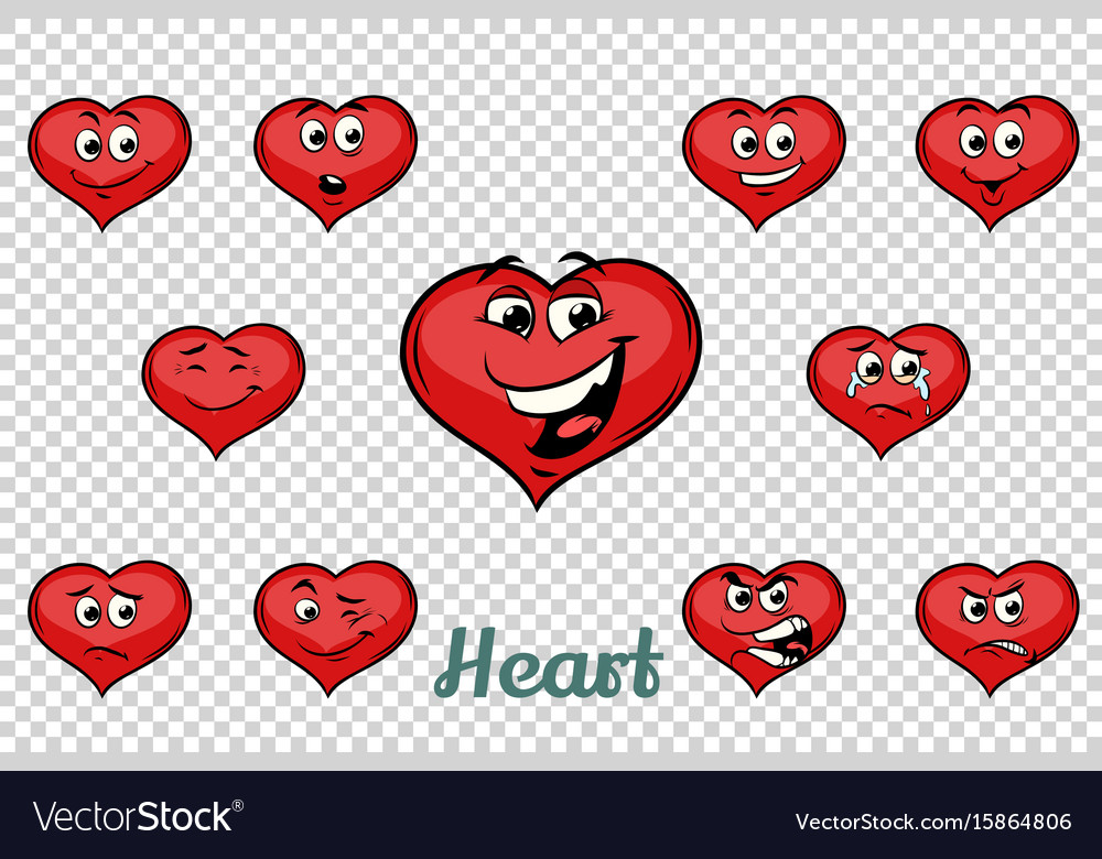Heart valentine emotions characters collection set vector image