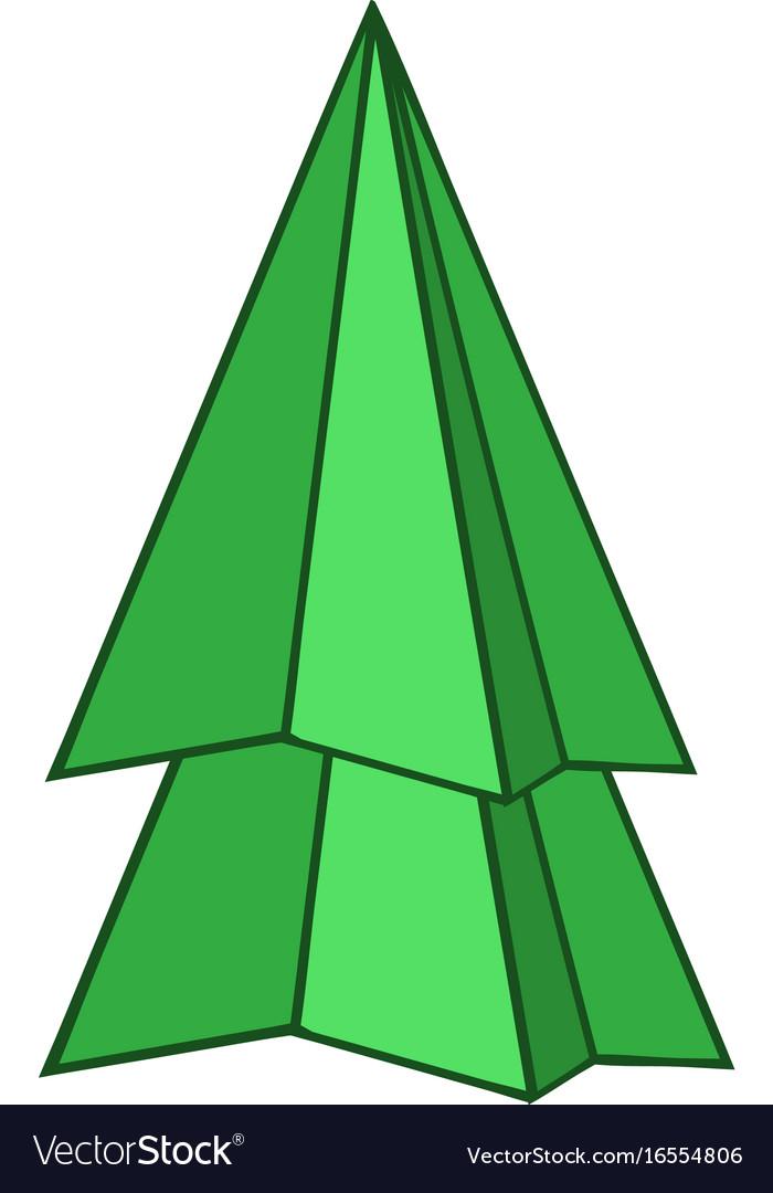 Origami fir tree icon cartoon style vector image