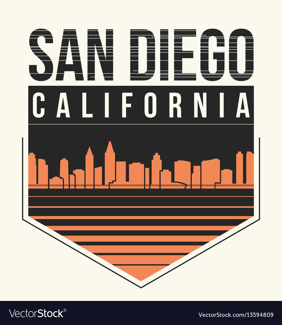 Shirt design san diego - San Diego Graphic T Shirt Design Tee Print Vector Image