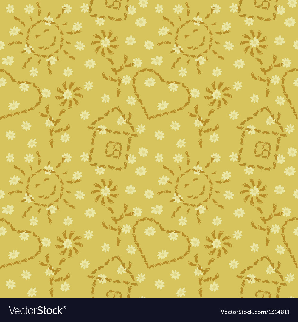 Seamless pattern from footprints vector image