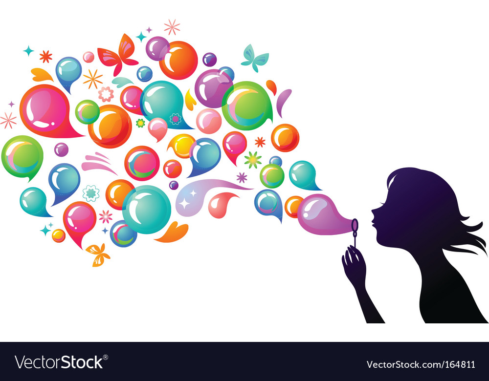 Kids playing girl blowing bubbles vector image
