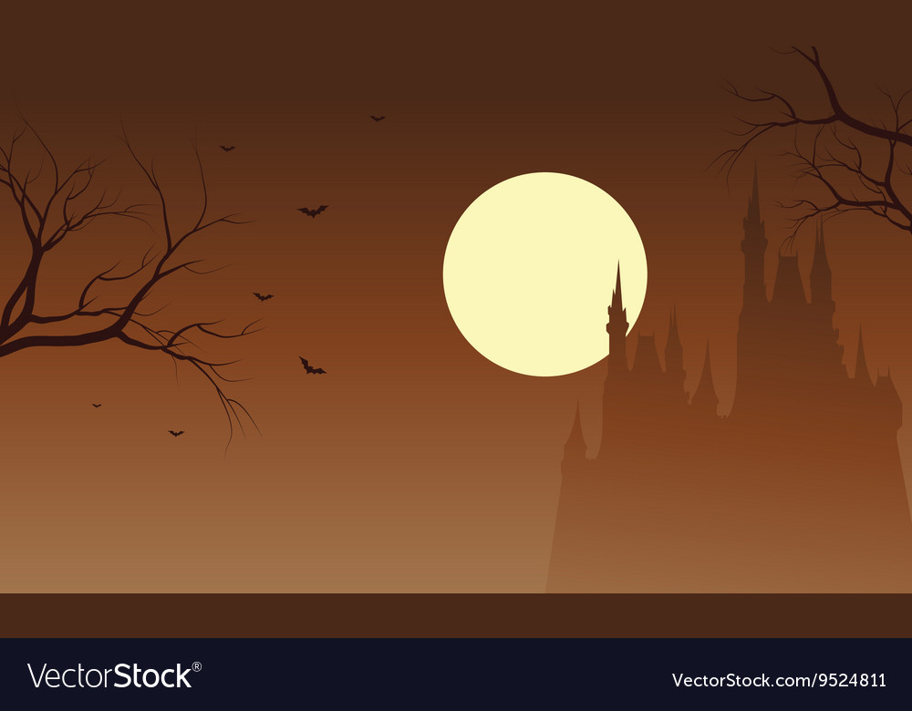 Halloween castle and bat silhouette vector image